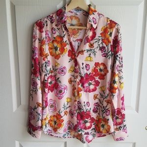 Express Pink Floral The Portofino Shirt Size Small
